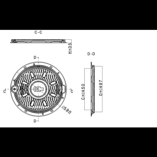 Capac compozit rotund 59 cm B125