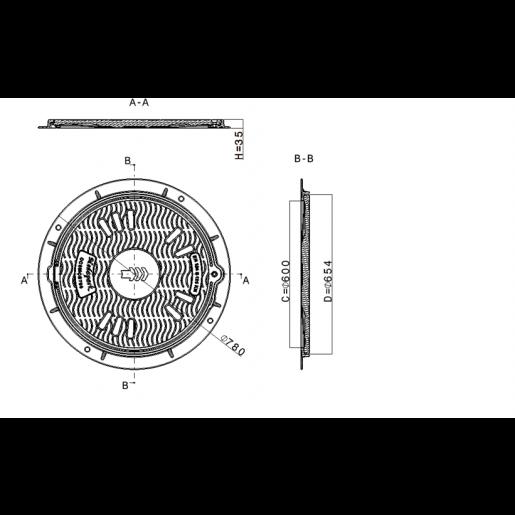 Capac compozit rotund 78 cm B125