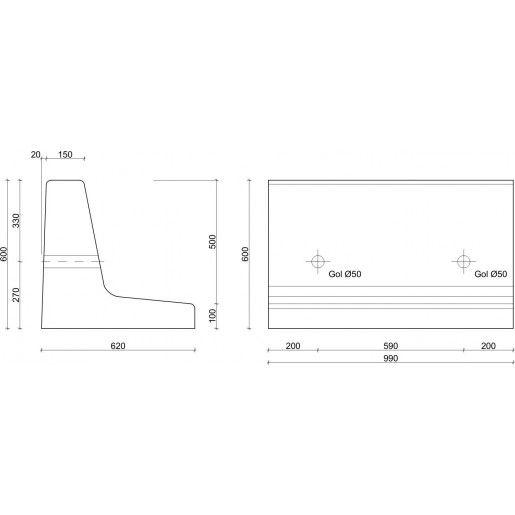 Bordura Inalta BL 101, 100x62x60 cm