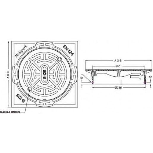 Capac fonta pentru tub PVC DN315, D400