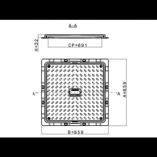 Capac compozit patrat de canalizare 85x85 cm B125