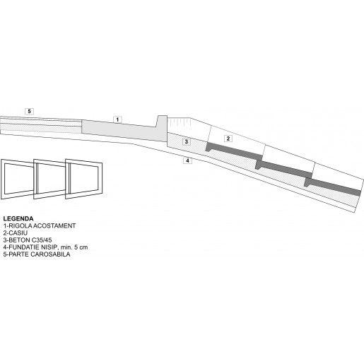 Casiu prefabricat 50x25/36x10/15 cm