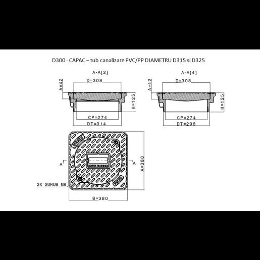 Capac compozit D400 pentru tub DN315