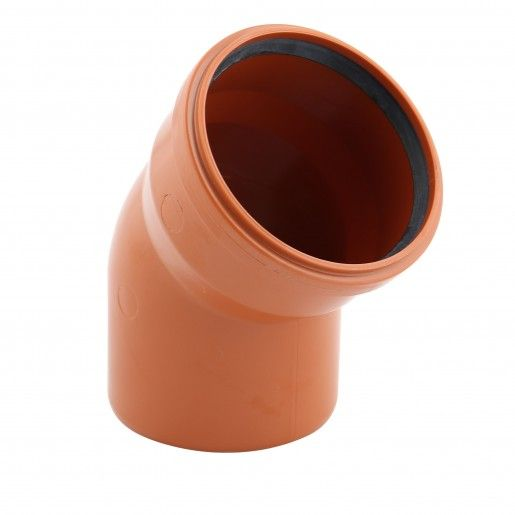 Cot PVC cu mufa inel, D160, cu unghi de 45 grade