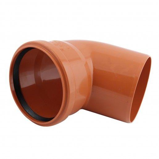 Cot PVC cu mufa inel, D125, cu unghi de 67 grade