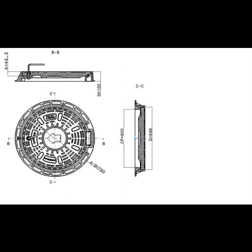 Capac compozit rotund 79 cm D400(cu balama)