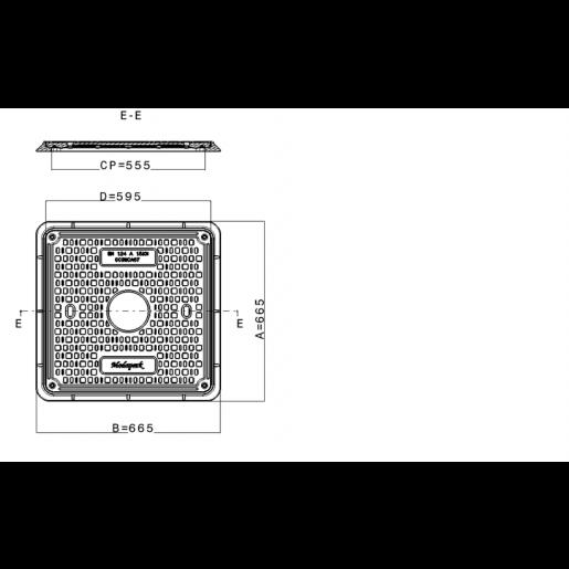 Capac compozit patrat de canalizare 68x68 cm A15