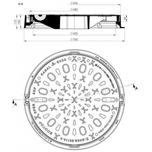 Ansamblu rama capac necarosabil D 76 di 60.5 H 8 cm