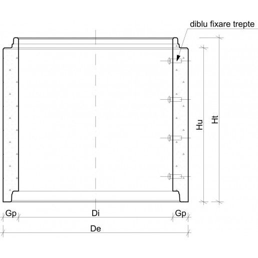 Element drept cu cep si buza D 130 di 100 cm