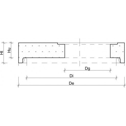 Placa de reductie de acoperire camin necarosabila din beton armat fara capac inglobat D 98.5 di 80/61 h 12 H 19 cm