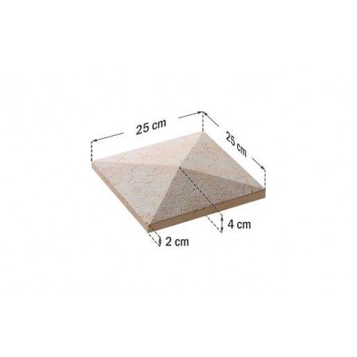 Capac Stalp 25x25x4 cm, Smoke
