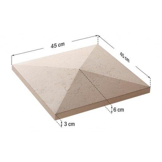 Capac Stalp 45x45x6 cm, Smoke