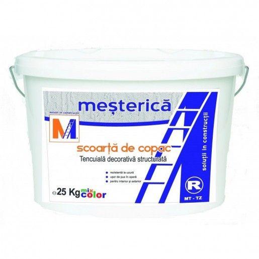 """Tencuiala decorativa R 25 Mesterica """"Scoarta de copac"""" pentru exterior, 25 kg"""