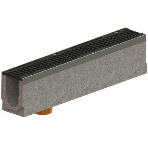 Kit rigola fibrobeton Drive LN100 Hext.21 cm muchii otel zincat gratar fonta D400 iesire verticala DN110, 100x16x21 cm