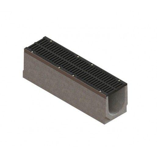 Kit rigola fibrobeton Drive LN200 Hext.26 cm muchii otel zincat gratar fonta D400 iesire verticala DN200 100x26x26 cm