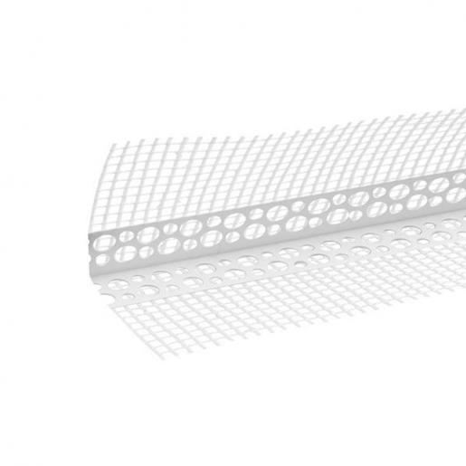 Profil de colt PVC cu plasa 250 cm, 2.25x2.25 cm, plasa alba 10x10 cm