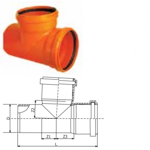 Ramificatie PVC, mufa inel D125/125 cu unghi de 87 grade