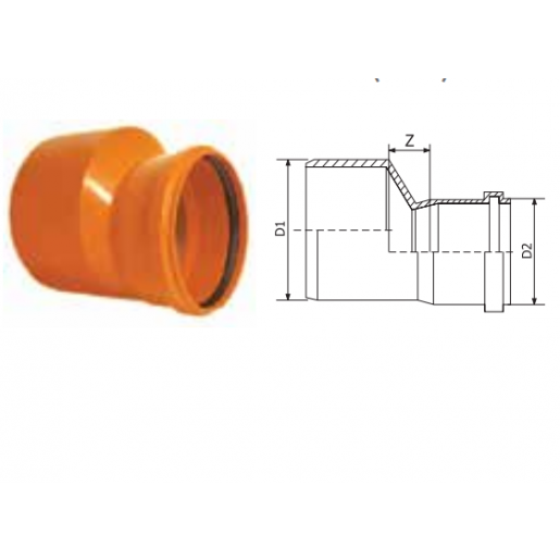 Reductie PVC cu inel etansare D160/125