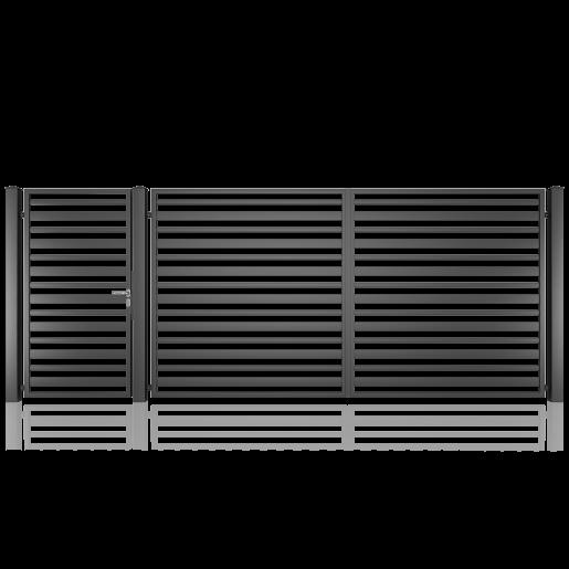 Set poarta metalica auto si pietonala model 12, 450x180 cm