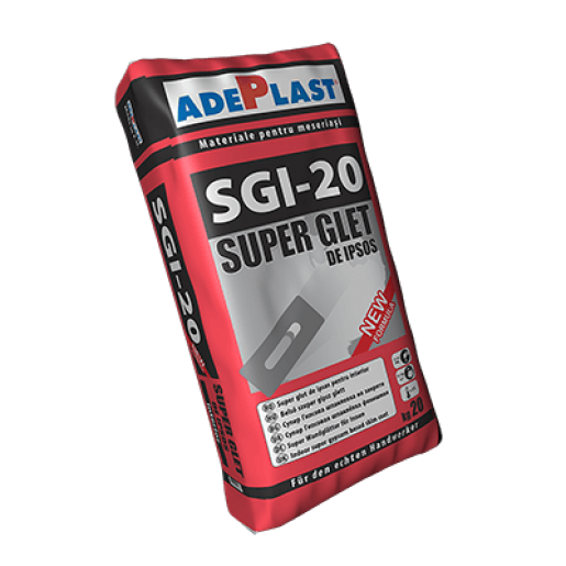 Glet de finisaj Adeplast Super Glet, pe baza de ipsos, interior, Alb, 20 kg