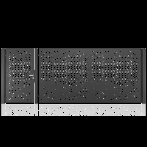 Set poarta metalica auto si pietonala model 29, 450x180 cm
