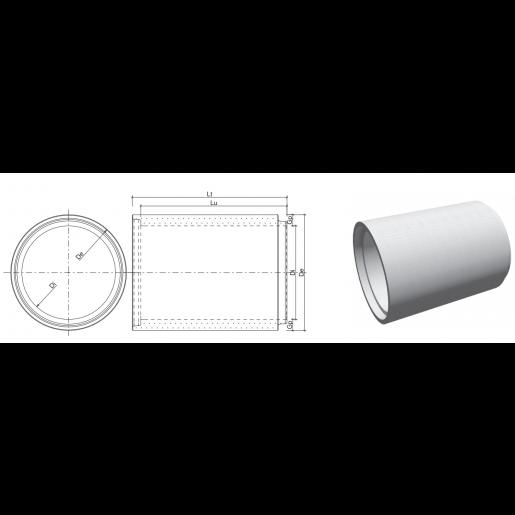 Tub cu cep si buza din beton armat D 198 di 160 L 264.5 cm