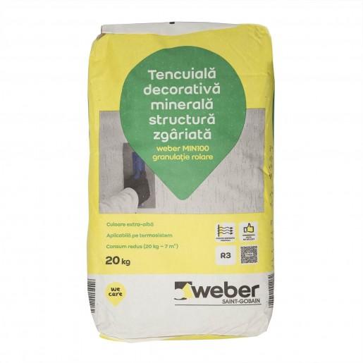 Tencuiala decorativa minerala structurata zgariata, Weber mini100, 20 kg