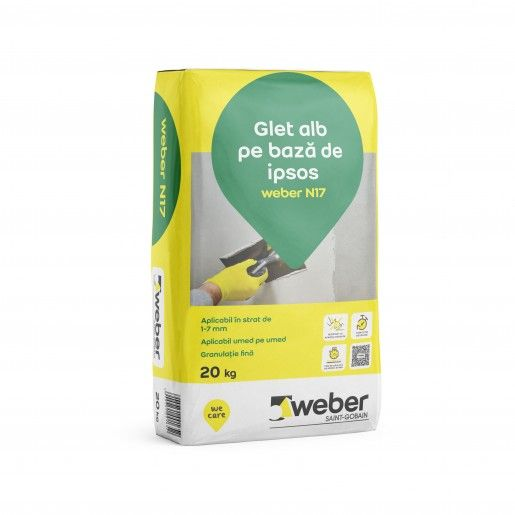 Glet de nivelare pe baza de ipsos, Weber N17, 20 kg