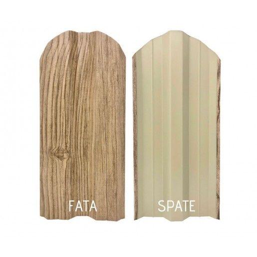 Set 25 buc/3 ml Sipca Metalica Gard Imitatie Lemn Stejar Alb Striat 0.40 mm