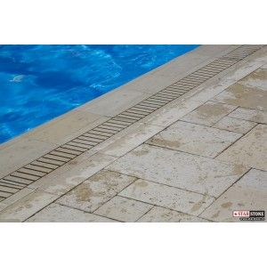 Bordura Piscina Textura Travertin 50x32x3 cm