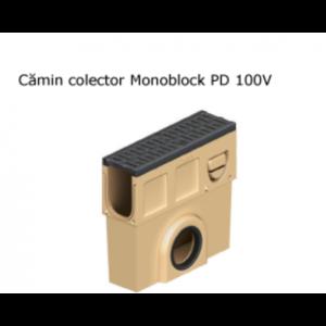 Camin colector Monoblock PD 100 din beton cu polimeri, cu gratar si muchii din fonta 50x15x50 cm DN160