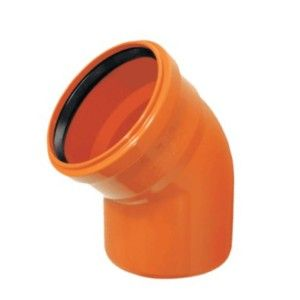 Cot PVC cu mufa inel, D160, cu unghi de 15 grade