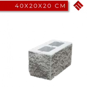 Stalp Gard Splitat Simplu, 40x20x20 cm