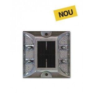 Lampa LED Solara Semnalizare 10x10x2.3 cm, Gri