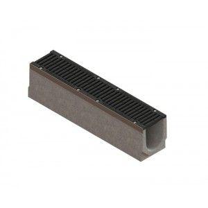 Kit rigola fibrobeton Drive LN150 Hext.21 cm muchii otel zincat gratar fonta D400 iesire verticala DN110, 100x21x21 cm
