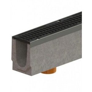 Kit rigola fibrobeton Drive LN200 Hext.26 cm muchii otel zincat gratar fonta D400, 100x26x26 cm