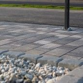 Bordura stradala cu quartz 24x15/12x25 cm, Gri