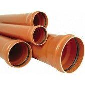 Teava PVC pentru canalizare exterioara, multistrat, SN2, DN125, mufa inel L=200 cm